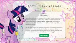 Twilight Sparkle: Happy One Year Anniversary by Paris7500