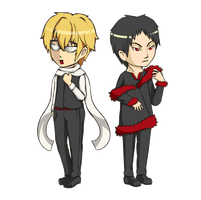 Roppi and Tsukishima -Chibi- by cheelate