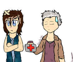 I have an Ouchy - Chibi Caryl - The Walking Dead by Luccient-Glitcher