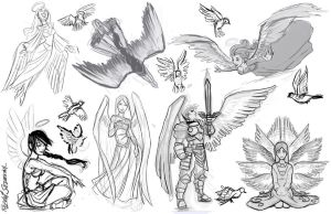 Angel Tattoo Sketches by Razvan-Sedekiah