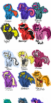 My Little Antiponies: Mean, Lunatic, and Manahex by FamilyWing