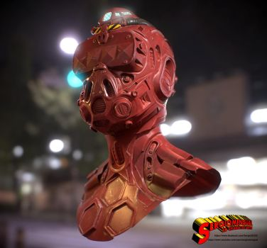 Cyborg Head Final Textured Version 2 by SergioMengual2012