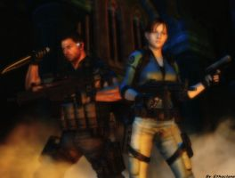 Resident evil wallpaper Chris and Jill by ethaclane