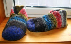 Felted scrap slippers by KnitLizzy