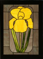 Yellow Iris in Stained Glass by CarolynYM
