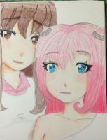 Request: Tda Mio and Yuna Portrait (Colored) by Myindiansummer