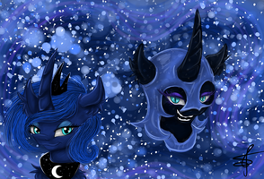 Two sides of The Moon by CharlotteLaNoire