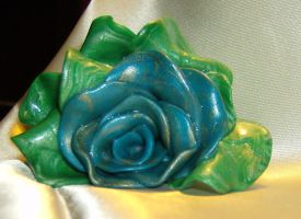 Blue and Gold Rose by DKayCrafts