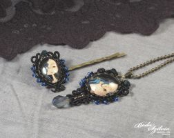 Gothic necklace and hair pin set by bodaszilvia
