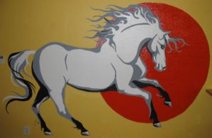 Wallpainted horse by Demondes