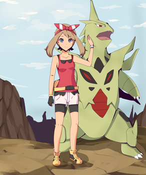 Pokemon May and Mega Tyranitar by Grumpythesheep