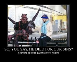 Poster - SO, YOU SAY, HE DIED FOR OUR SINS? by E-n-S