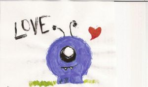 Blue Monster Loves You by thescarletaracnid