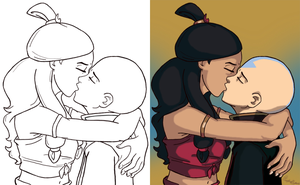 Aang and Katara Kiss by amiraink