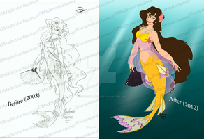 Before and After Italian Mermaid by ColorfulArtist86
