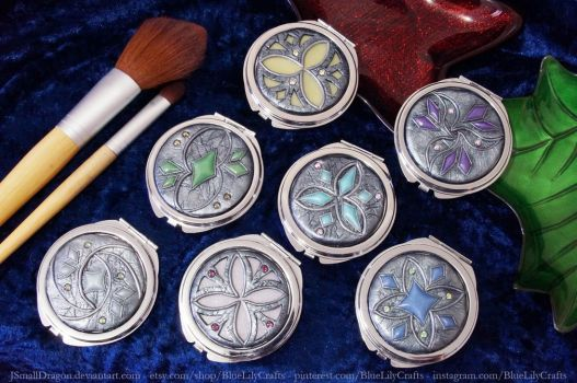 Compact Mirrors with Polymer Clay Designs 2 by JSmallDragon
