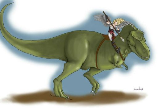 Valkyrie riding a Dinosaur by AthenaNina