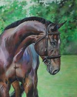 Bay Horse Painting by rainyrose23