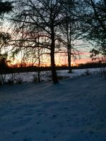 Image sunset over snow. by SiTayManiacalToddler