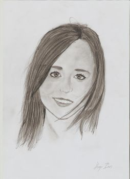 Ellen Page pencil portrait by HUGOILL