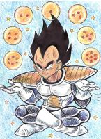 Vegeta Juggling Dragon Balls by blackhellcat