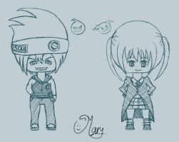 Maka and Soul from soul eater chibi :) by mary3m