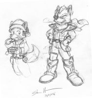 Fox + Wolf Postcard Sketch by StacMaster-S