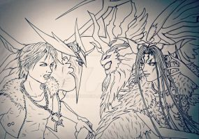 Squall vs Ultimecia WIP by RokudoRena