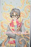 Harry Potter watercolor (SOLD @ LAMECon!) by Gaz-Monster
