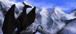 Black dragon, white mountains by The-Black-Panther