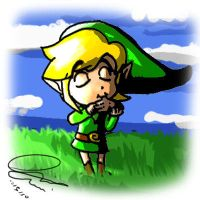 Link playing Fairy Ocarina by DavidUnwin