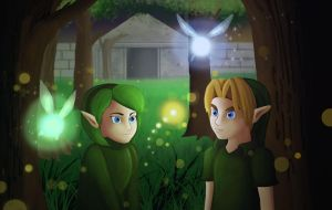 Link and Saria by Tetra-Triforce