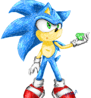 Sonic with emerald by 999agA