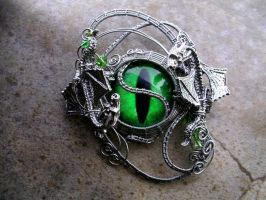 Yin Yang Double Dragon - Neon Green Eye Wire by LadyPirotessa