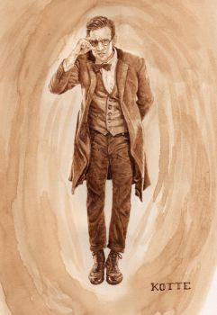 11th Doctor, in coffee by Adnaurian