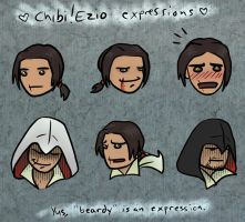 Chibi Ezio faces by coloristjen