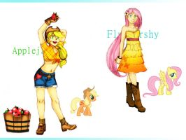 MLP Gijinkas - Apple Jack and Fluttershy by Joz-yyh