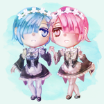 Chibi Rem and Ram by Moossey