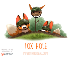 Daily Paint 1550. Fox Hole by Cryptid-Creations