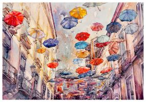 Rain and Umbrella by 1hama