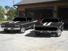 two muscle cars by azest911