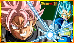 (Wallpaper) Vegeta SSJ Blue VS Black Goku SSJ Rose by el-maky-z