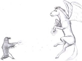 penguin and horse battle by oldarmodillo