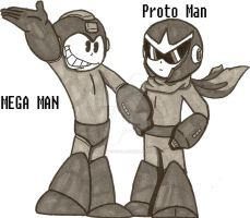 MEGA MAN AND PROTO MAN CARTOONS by Baragon1314
