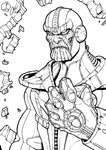 Thanos Infinity Gauntlet - Line Art by illustrationoverdose
