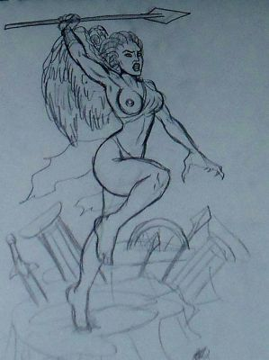 Stheno: Lady of Brutality Statue Concept Sketch