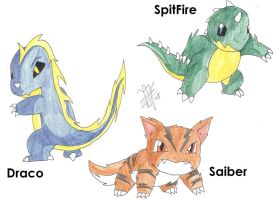 Fakemon Starters by 12liza12