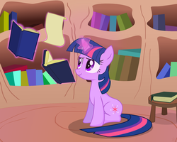 Twilight Sparkle with books... by Mafon
