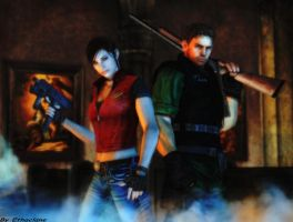 Resident evil wallpaper Chris and Claire by ethaclane