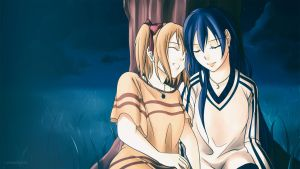 Honoka + Umi - Resting by xox1melly1xox